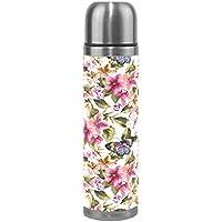 coosun mariposa con flores patrón matraces botella de agua de acero inoxidable aislado al vacío taza a prueba de fugas doble vacío botella de viaje taza térmica, de piel sintética, 17oz