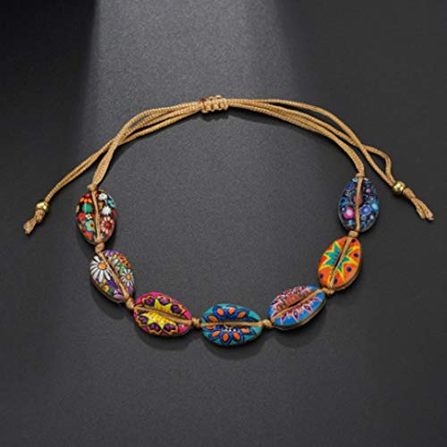 Asmei Mode Muschel Armband Unisex gedruckt Braid Armband Geburtstagsgeschenk (Color : Orange) (Halskette Herren Braid)