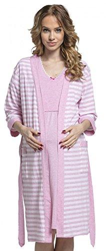 Happy mama. donna set vestaglia e camicia da notte prémaman l'allattamento. 190p (rosa, it 40/42, s)