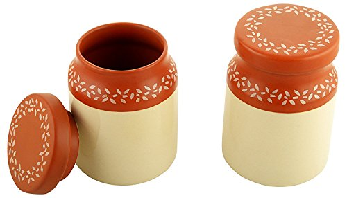 CROCKTO Ceramic Handmade Pickle Jar Set of 2 with Lid, Pickels Containers and an Ideal Gift for Family