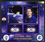 Djibouti 2014 50th Anniv of European Space Agency - CSTS & Thomas Pesquet imperf sheetlet 2 values plus 2 label u/m PERSONALITIES SATELLITES ESA JandRStamps