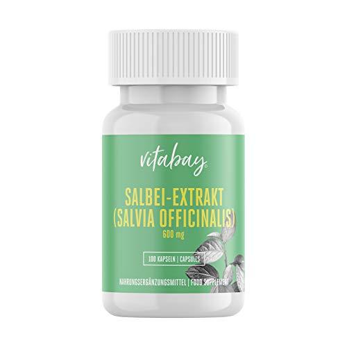 Salbei Extrakt - Sage Leaf - 600 mg - mit Thujon, Campher und Flavonoide - 100 Kapseln - Salvia Officinalis-salbei