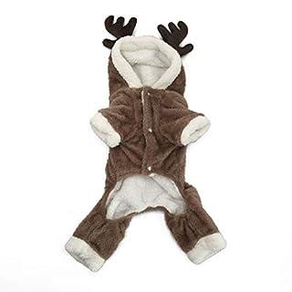 Youyababy Hundemantel, Pet Puppy Dog Weihnachten Halloween Kleidung Outwear Coat Bekleidung Hoodie, Soft Coral Velvet Fleece, Winter Warm Hooded Sweater Jumpsuit Outfit,S