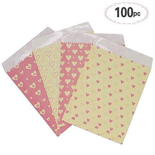 Sinoest 100 Candy-Bar Tüten Papiertüten Süßigkeiten Tüten für Adventskalender Hochzeit Zubehör Kindergeburtstag 4 Designs mit je 25 Geschenktüten