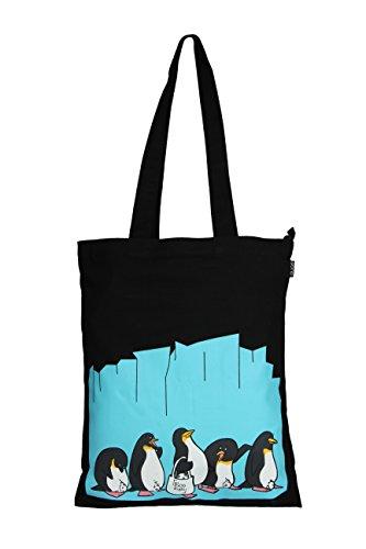 Amazon Marka: Eono Essentials - Bolsa al hombro de 100 % algodón/tela, reutilizable y ecológica, con cremallera y con estampado «Penguin love» (Negro)