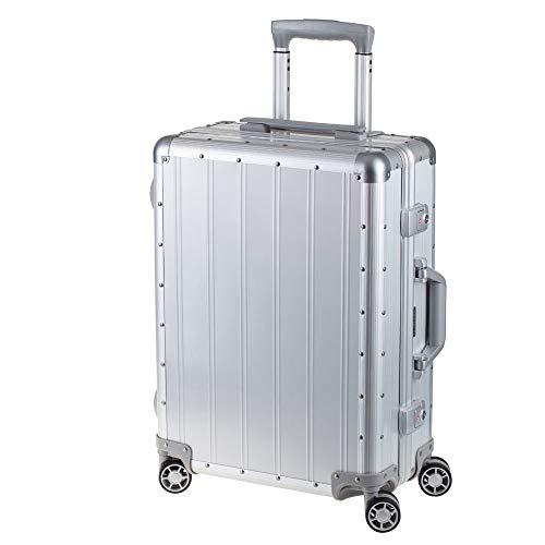 Alumaxx ReiseKoffer Vier 360 Grad Leichtlauf Doppel Rollen KofferTeleskoptrolley matt Silber 45170