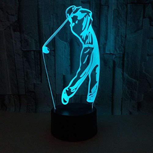 3D Illusione Ottica Led Lampada di Illuminazione Luce Notturna 7 Colori con Acrilico USB Batteria Notturna Touch Control Crack Base Elegant Golf Controllo Remoto