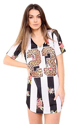 Damen 23 Print Sublimation Airtex Longline T-Shirt Kleid EUR Größe 36-42 Schwarz-Weiss
