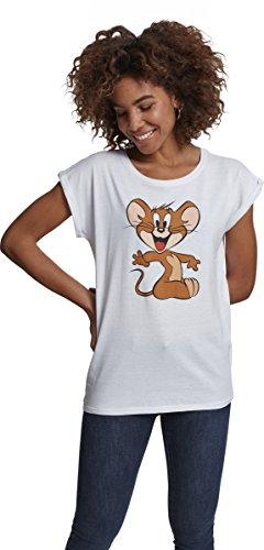 Katzen Womens Baumwolle (MERCHCODE Damen Ladies Tom und Jerry Mouse Tee T-shirt, White, M)