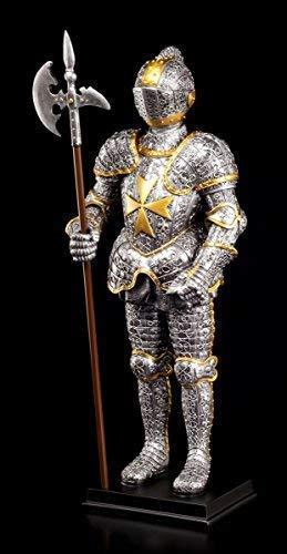 Ritter Figur Rüstung - Malteser mit Hellebarde - Ritterfigur Mittelalter Deko -