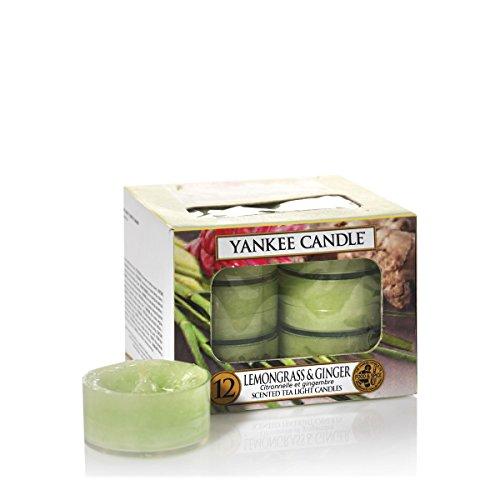 YANKEE CANDLE 1507709E - La Hierba de limón y Jengibre Velas de Té Aromáticas Paquete de 12 Unidades Color Verde