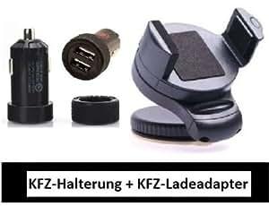 LS KFZ 2 in 1 Set Dual USB KFZ Ladeadapter 3000mA + Universal KFZ Halterung für Smartphones PDA Navi Handy HALTER um 360° schwenkbar
