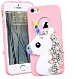 SMARTLEGEND Coque iPhone 5 5S Se, Silicone Etui Souple de Protection 3D Unicorn...