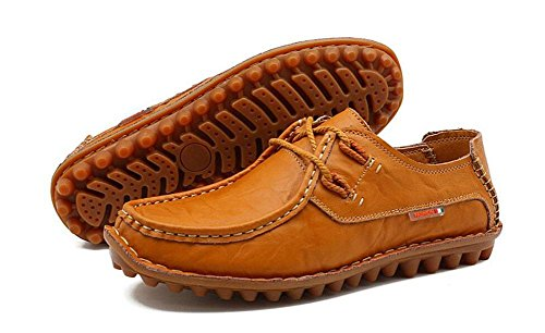 SHINIK Chaussures de sport pour homme Chaussures de sport en cuir non glissantes light brown