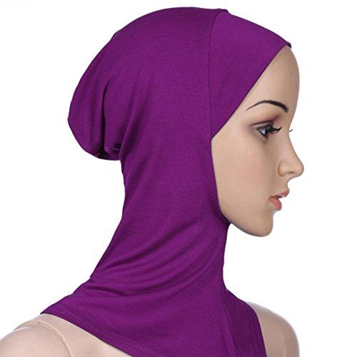 Muslim Damen Einfarbig Strecken Turban Hut Hälfte Hals Wickeln Kopfbedeckung Hijab Chemo Kappe Haar Kopftuch Islamischen Abaya Dubai Frauen Hidschab Schal (Violett) (Herren Turban Hut)