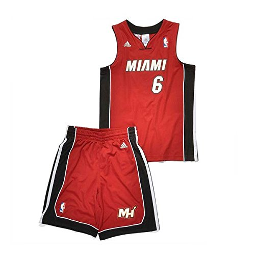 adidas KIDS MIAMI HEAT JAMES JERSEY SET rot/blau, Gr.176 (XL)