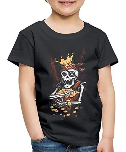 Spreadshirt Halloween Pirat Skelett Schatzkiste Kinder Premium T-Shirt, 122/128 (6 Jahre), Schwarz (Halloween Grab Skelett)