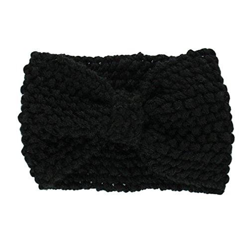 Hair Accessories, Kolylong® Accessoires Cheveux Hiver Crochet Flower Bow Tricoté Head Wrap Oreille Bandeau De Cheveux Warmer (Noir)