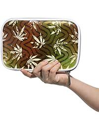 Montoj Rastafarian Grunge - Estuche para brochas de maquillaje, diseño de hojas de cáñamo, con cierre de cremallera, gran capacidad,…