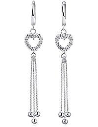 e3bfe18421ed Pendientes colgantes con blanco cristal de 18K oro plateado plata de ley  925 Corazón Pendientes con