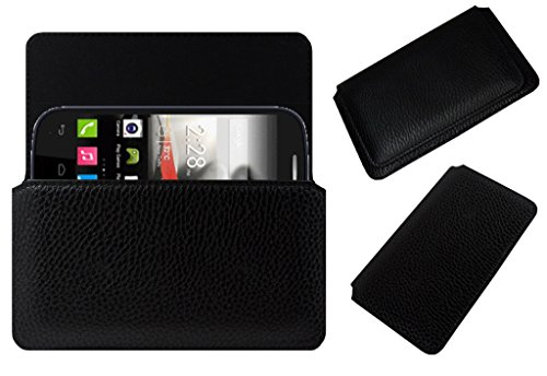 Acm Horizontal Leather Case For Panasonic T31 Mobile Cover Carry Pouch Holder Black  available at amazon for Rs.179