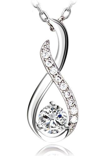 Meranu Damen Kette Infinity Twist 925 Silber Unendlichkeits-Zeichen Halskette Forever Anhänger - 50-55 cm Infinity Twist