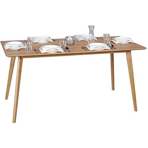 FineBuy Esszimmertisch 160 x 76 x 90 cm aus MDF Holz   Esstisch mit quadratischer Tischplatte   Robuster Küchentisch im Retro Stil   Holz-Tisch in skandinavischem Design   Tisch in Eichenfurnier