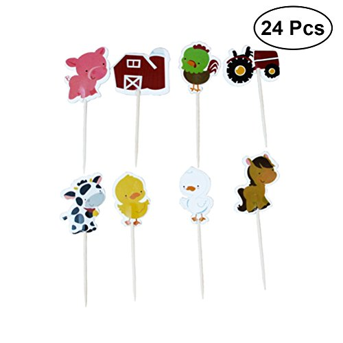 YeahiBaby 24 Unids Animal Farm Cake Cupcake Toppers Adorable...