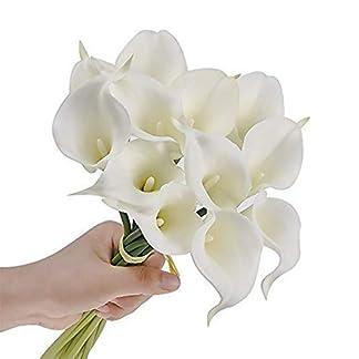 TOPFAY 12 PCS Seda Artificial Flor de Lirio de Cala Ramo de Novia Decoración de la Boda Decoración romántica de la casa (Blanco)