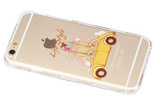 Coque Housse Etui pour iPhone 6, Coque pour iPhone 6s, iPhone 6 Coque Etui en Silicone, iPhone 6s Coque Etui en Silicone, iPhone 6 Silicone Case TPU Cover, Ukayfe Etui de Protection Cas en caoutchouc  Diamant-Cadeau voiture fille