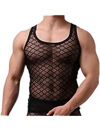 DOTBUY Transparent Shirt Herren, T-Shirt Tank Top Netzshirt Shirt  Nachtwäsche Reizvoll Unterwäsche Glatt bda0dc07e2