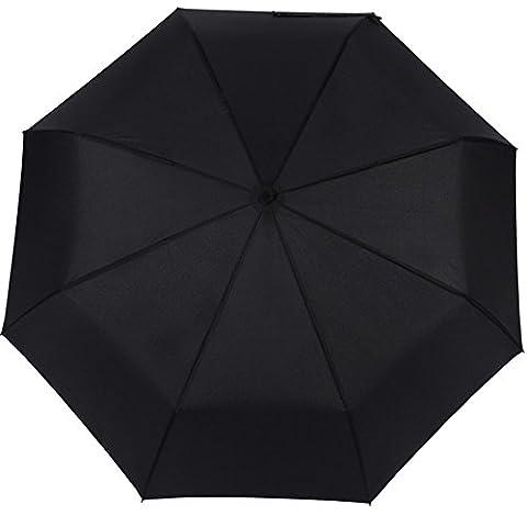 Joymixx Parapluie pliable Portable, Trois pliant parapluie, entièrement automatique Une touche ouverte à fermeture automatique, anti UV Protection solaire + Résistant à l'eau + 8 Cadre renforcé à la barre et étanche au vent, Parasol pour hommes et femmes, Opération à une touche pour voiture, Voyages - Classique et Affaires (Noir)