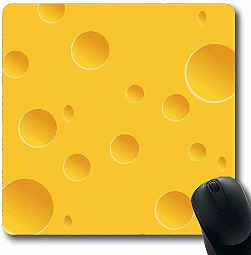Mousepads für Computer Molkerei Orange Muster Käse Löcher Essen Trinken Milch Gelb Edamer Swiss Abstract Design Längliche Form Rutschfeste Längliche Gaming Mausunterlage 30X25CM