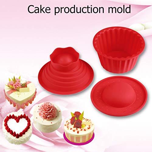 Footprintse Silicona roja -40 ℃ ~ 240 ℃ Molde gigante de la magdalena, 3 piezas Big Top Cupcake Silicone Mold Herramientas de horneado resistentes al calor para hornear-color: rojo
