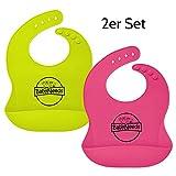 2er Set Lätzchen mit Auffangtasche aus weichem Silikon für Babys und Kinder, wasserdicht, abwaschbar, spülmaschinengeeignet, fleckenunempfindlich, Babylätzchen mit Auffangschale (2, Pink und Grün)