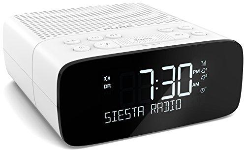 Pure Siesta S2 Radiowecker (DAB/DAB+ Digital- und UKW-Radiowecker, USB-Ladeanschluss, Weckfunktion, Sleep-Timer) Weiß