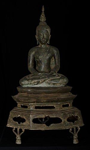 HD Asiatische Kunst 19. Jahrhundert Thai Sukhothai Meditation Buddha Statue auf Podest Hd-podest