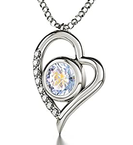 """925 Silver Zodiac Heart Pendant Gemini Necklace Inscribed in 24ct Gold on Cloudy Swarovski Crystal, 18"""""""