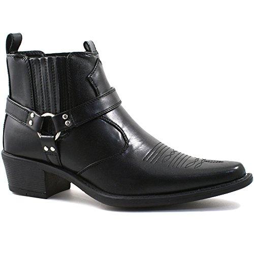 Herren US Brass kubanischer Steigbügelabsatz Western / Cowboy Stiefel in schwarz 45 - Western-stiefel Männer