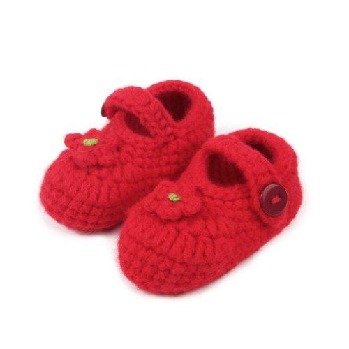 Smile YKK Gestrickte Baby Schuhe Krabbelschuhe flauschige Länge 11 cm Sonnenblume Pink Rot V