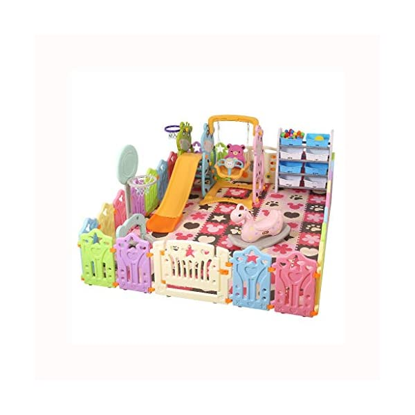LIUFS-Playpens Game Fence Indoor Fence Crawling Mat Home Children Fence Safety Fence Toddler Toys (color : Multi-colored, Size : 12+2 fence) LIUFS-Playpens - The fence is specially designed with a rubber base underneath, which can be firmly fixed to the floor and will not be pushed or towed by children. - Non-toxic, non-circulating high density polyethylene material without any odor. Over the years, molding technology has made the structure more durable and durable. Any form of manual deburring can prevent your baby from getting hurt. - The height of the fence is long enough to stand and walk, and each set has different game toys for children to play. 1