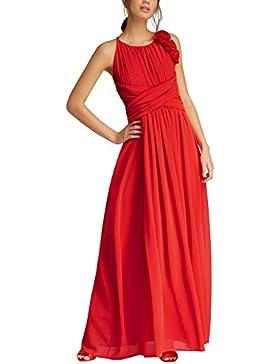 APART Fashion Glamour: Black-Lipstickred-Flowers-Fake Leather, Vestito Elegante Donna