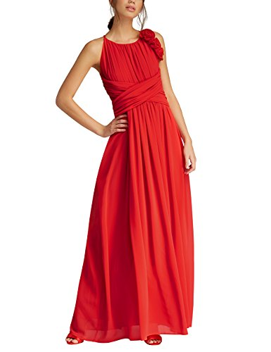 APART Fashion Damen Partykleid Glamour: Black-LIPSTICKRED-Flowers-Fake Leather, Rot (Lipstick, 42