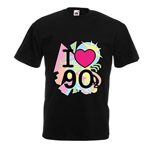 lepni.me Männer T-Shirt Ich Liebe die 90er Jahre! Vintage Style Band, Retro Party Kleidung (Small Schwarz Mehrfarben)
