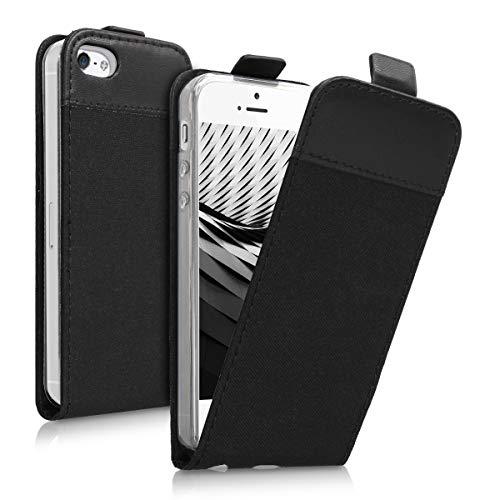 kwmobile Apple iPhone SE / 5 / 5S Cover - Custodia Flip Verticale in Simil Pelle e Tessuto - con Linguetta calamita per Apple iPhone SE / 5 / 5S