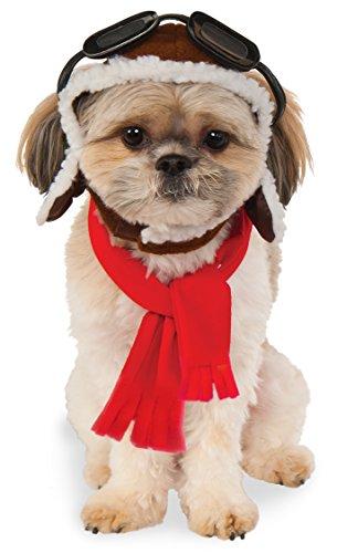 Rubies Costume Company Fliegermütze und Schal für Haustiere, Small/Medium, Mehrfarbig