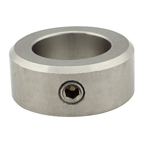 Stellringe für Welle / Achse - Innen-Ø = 20 mm [A20] - ( 2 Stück ) - DIN 705 Form A - mit Gewindestift (DIN 914, mit Spitze) - Edelstahl A2 (V2A) - SC705   SC-Normteile