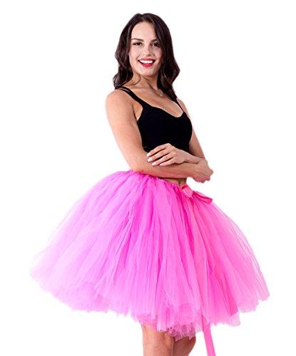 Honeystore Damen's Vintage Tüllrock Prinzessin Falten Rock Tutu Petticoat Ballettrock Unterrock Pettiskirt One Size Hell (Tanz Hand Kostüme Second)