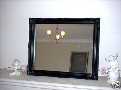 Satin Black Shabby Chic Antique Style Rectangular Wall Mirror complete with Premium Quality Pilkington's Glass - Extra Large Size: 30 inches x 42 inches (77cm x 107cm) - ITV Show Supplier - BEST PRICE ON AMAZON - ONLY AVAILABLE FROM SHABBY CHIC