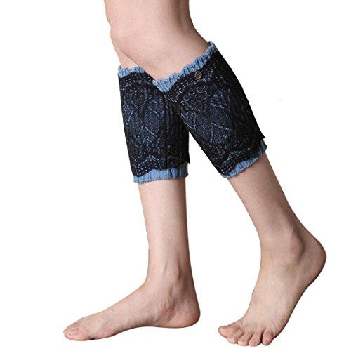 WOCACHI Damen Stulpen Winter-Frauen doppelter Spitze kurzer Punkt Beinlinge Socken Stiefel Abdeckung (Trachten Herren Grün Stiefel)